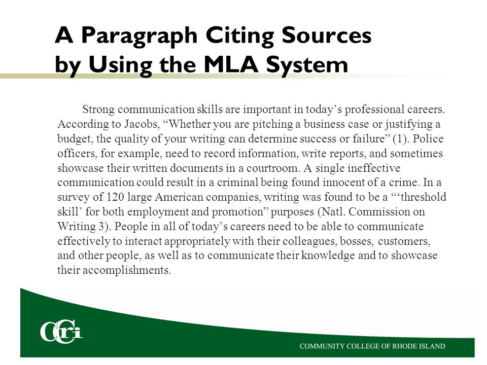 A Paragraph Citing Sources by Using the MLA System