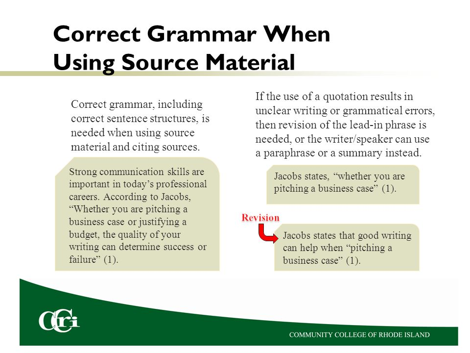 Correct Grammar When Using Source Material