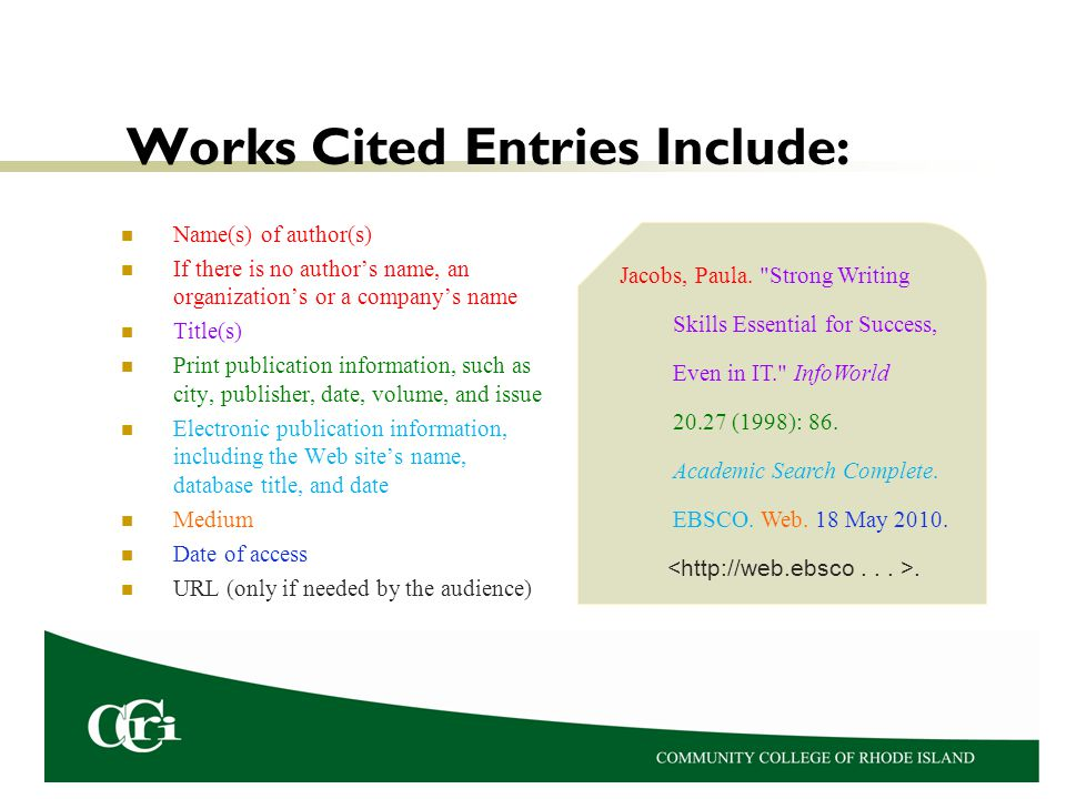 Works Cited Entries Include: