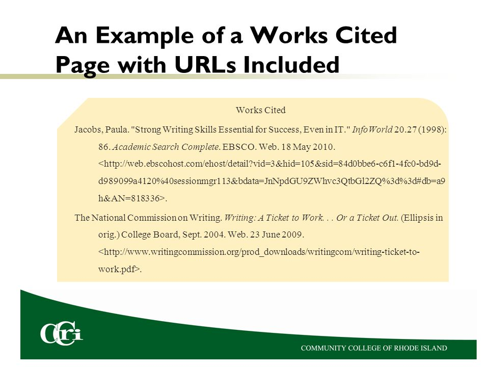 An Example of a Works Cited Page with URLs Included
