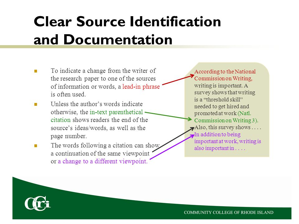Clear Source Identification and Documentation