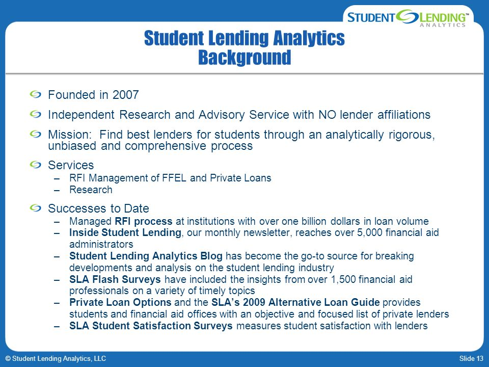 Student Lending Analytics Background