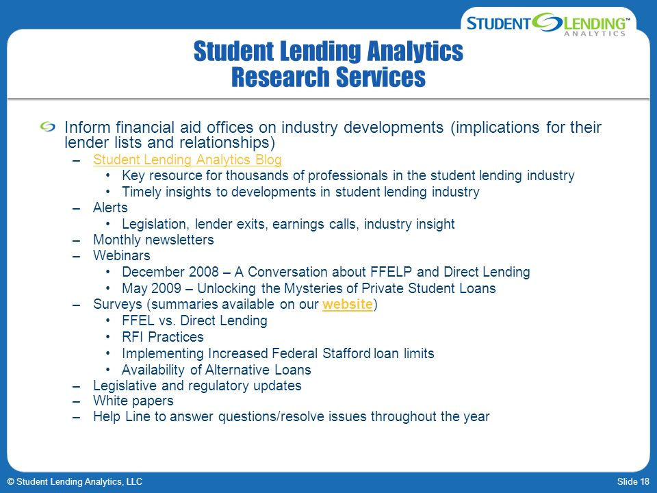 Student Lending Analytics Research Services
