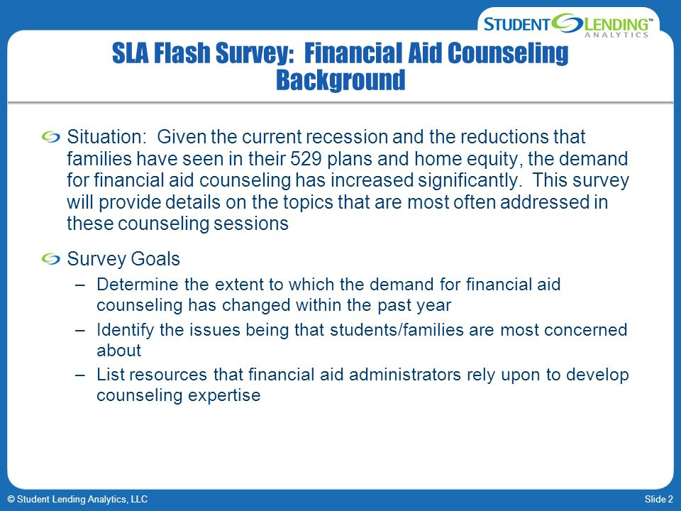 SLA Flash Survey: Financial Aid Counseling Background