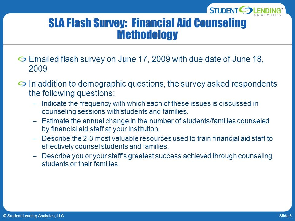 SLA Flash Survey: Financial Aid Counseling Methodology
