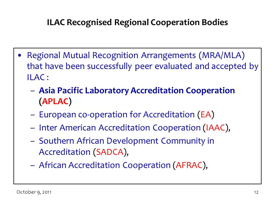 ILAC Recognised Regional Cooperation Bodies