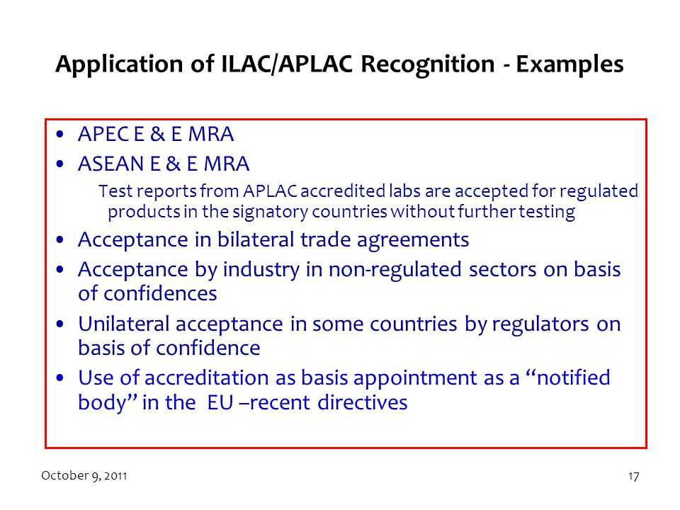 Application of ILAC/APLAC Recognition - Examples