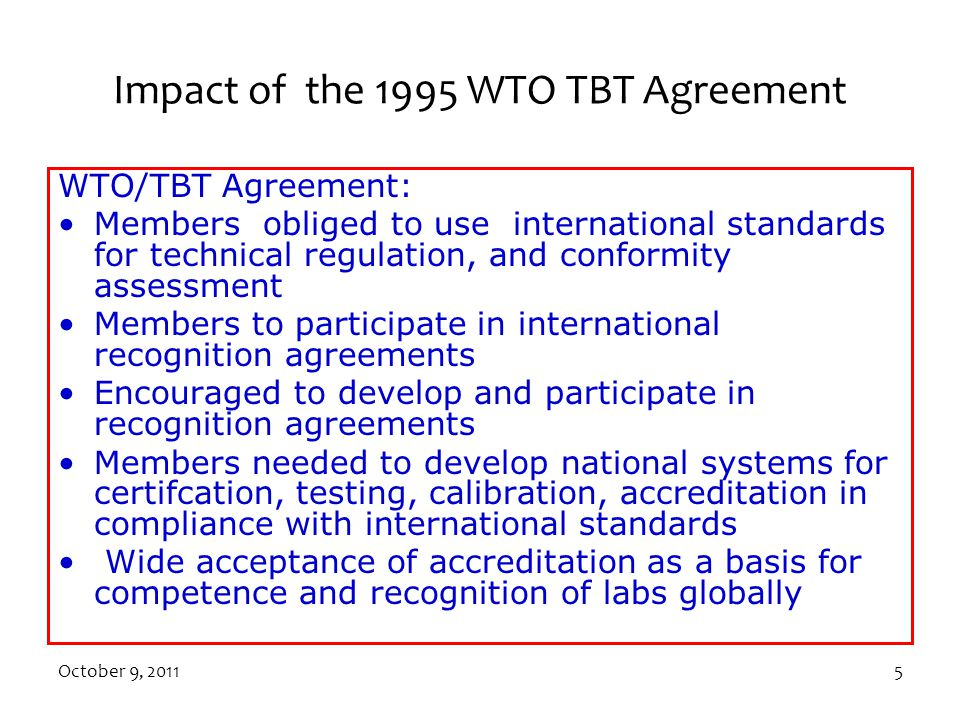 Impact of the 1995 WTO TBT Agreement