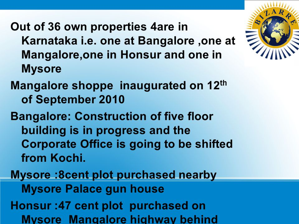 Out of 36 own properties 4are in Karnataka i. e