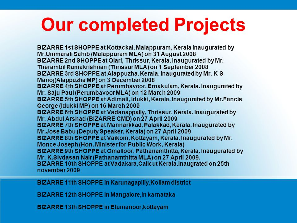 Our completed Projects