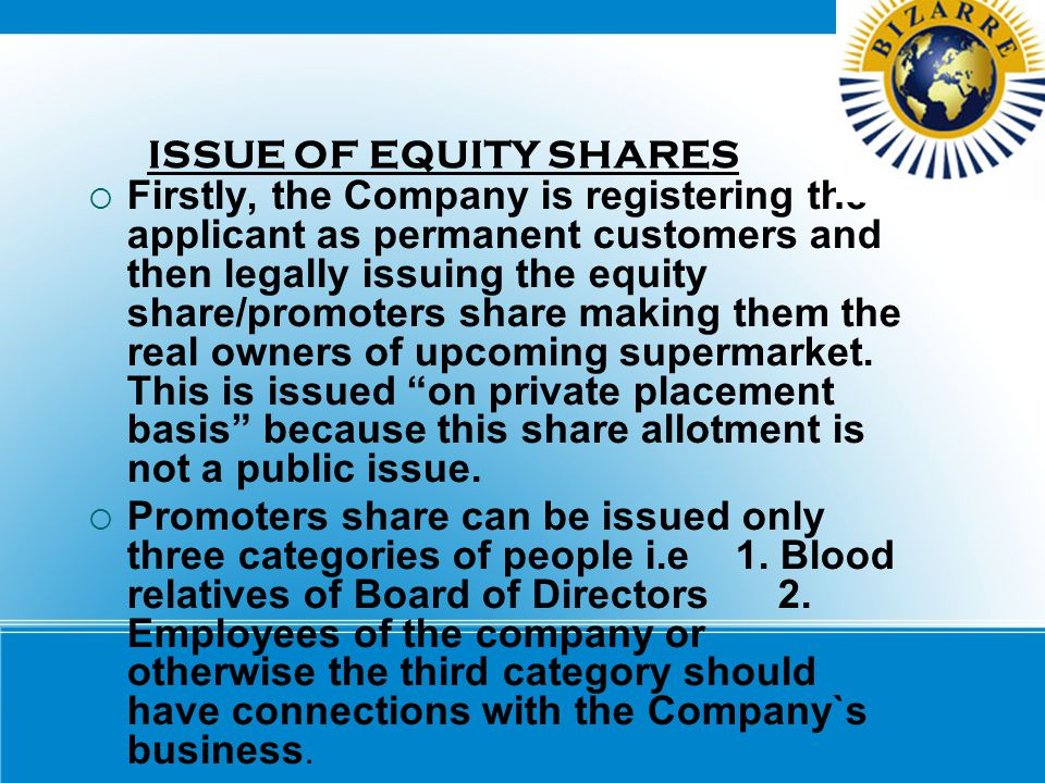 ISSUE OF EQUITY SHARES