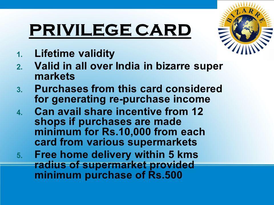 PRIVILEGE CARD Lifetime validity