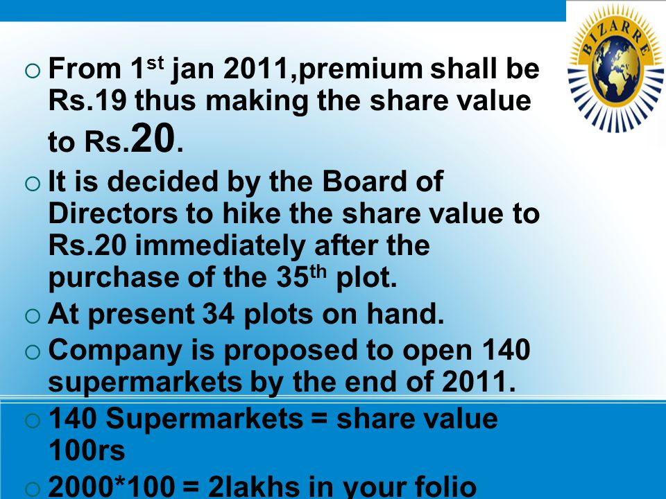 From 1st jan 2011,premium shall be Rs