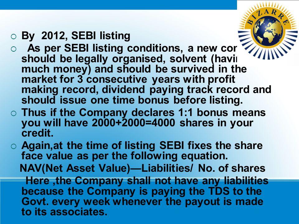 By 2012, SEBI listing