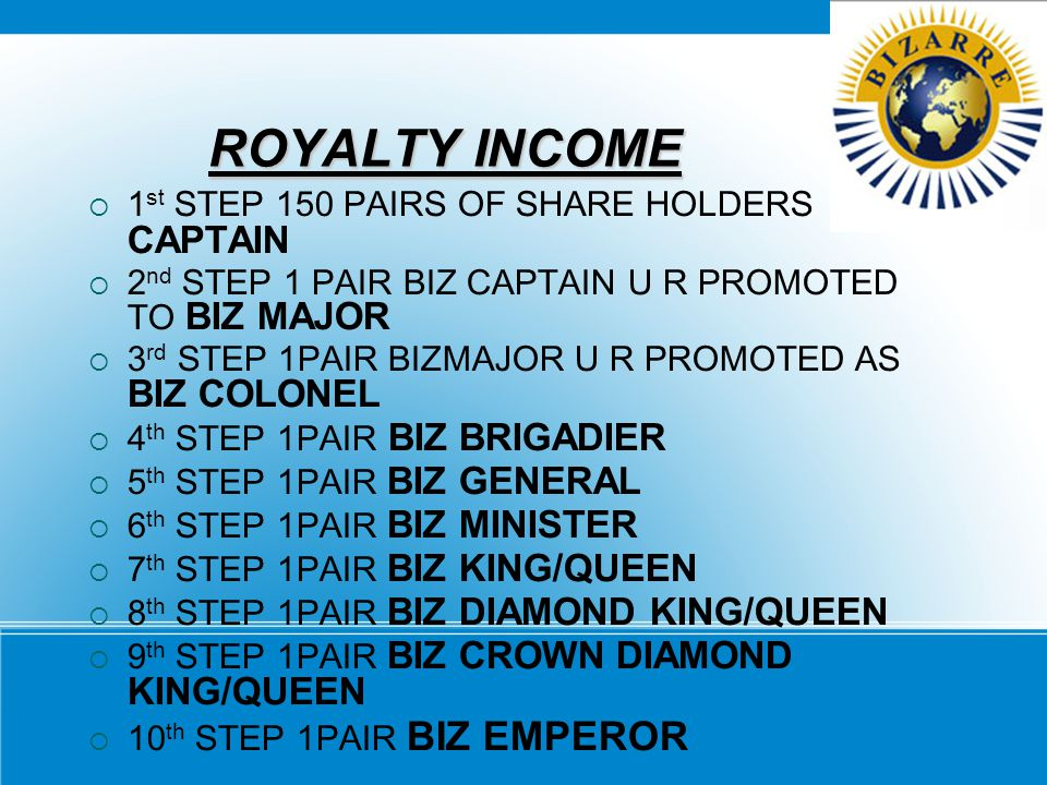 ROYALTY INCOME 1st STEP 150 PAIRS OF SHARE HOLDERS BIZ CAPTAIN