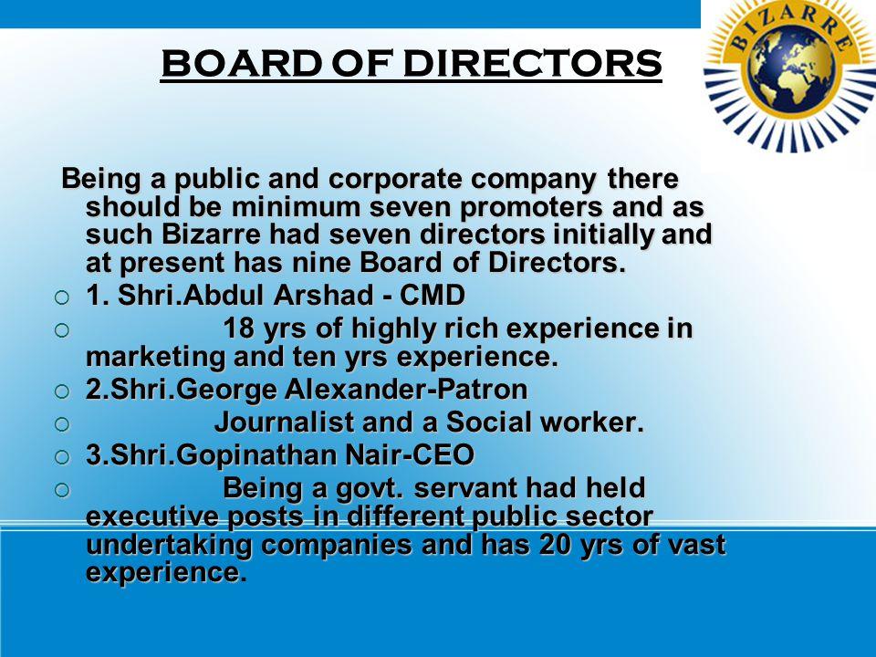 BOARD OF DIRECTORS 1. Shri.Abdul Arshad - CMD