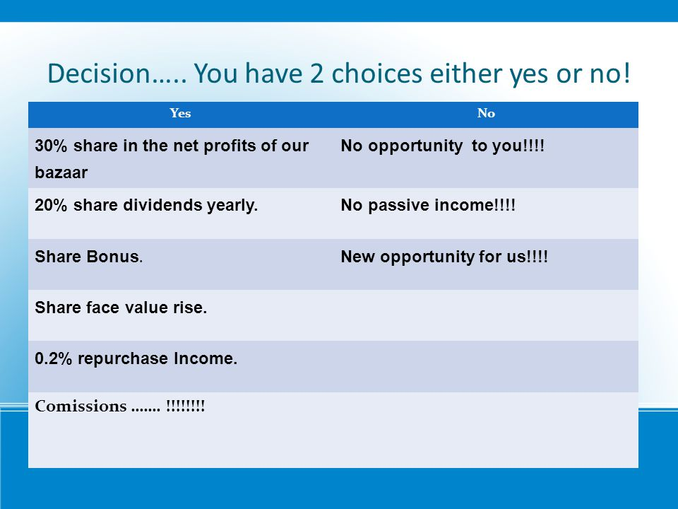 Decision….. You have 2 choices either yes or no!