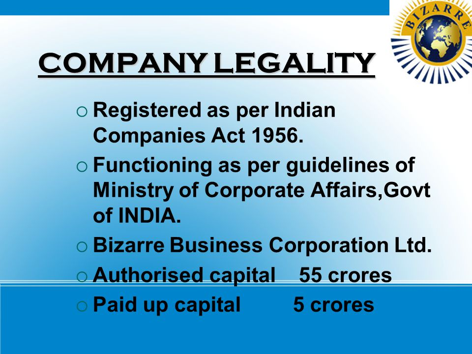 COMPANY LEGALITY Registered as per Indian Companies Act 1956.