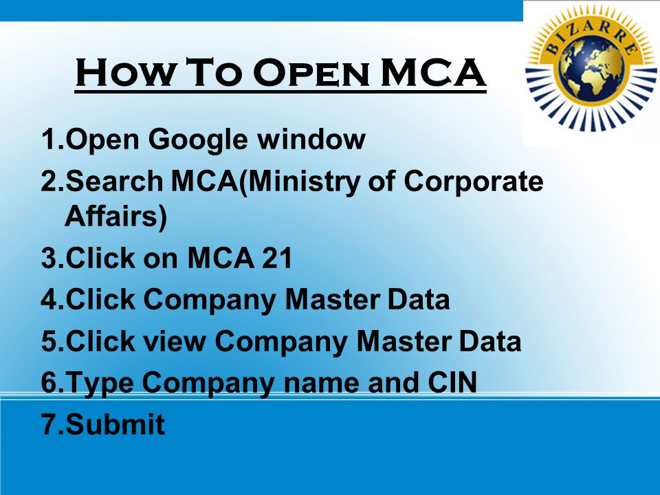 How To Open MCA 1.Open Google window