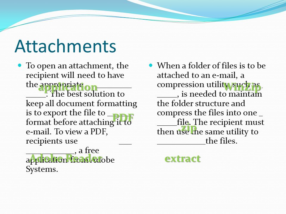 Attachments application WinZip PDF .zip Adobe Reader extract