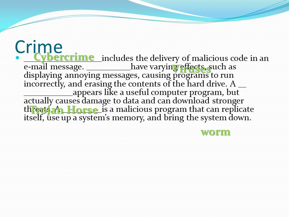 Crime Cybercrime Viruses Trojan Horse worm