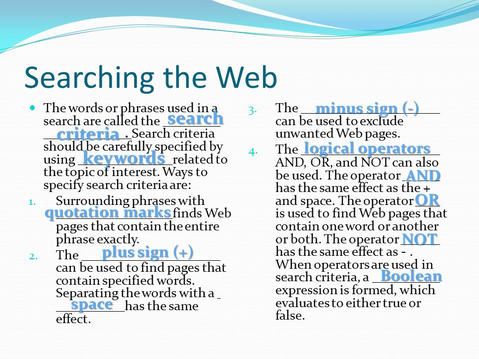 Searching the Web search criteria keywords minus sign (-)