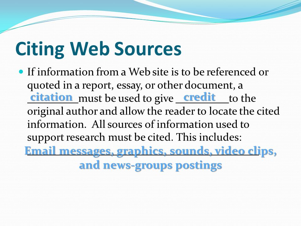 Citing Web Sources citation credit