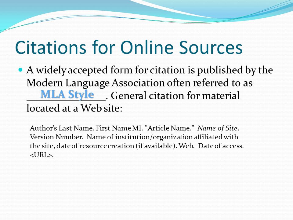 Citations for Online Sources