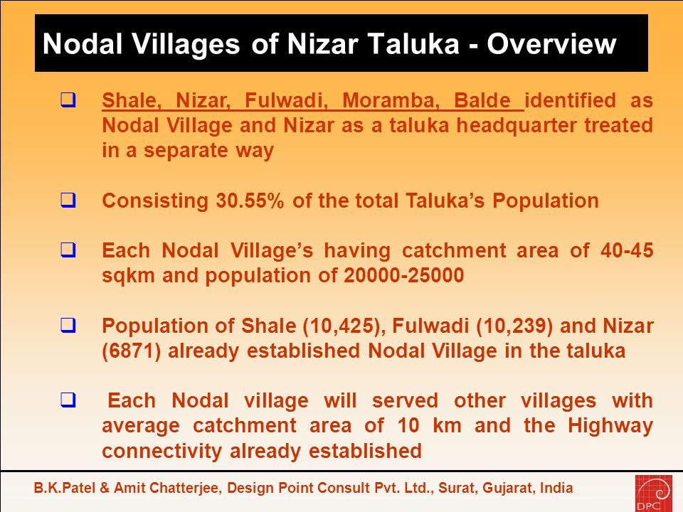Nodal Villages of Nizar Taluka - Overview