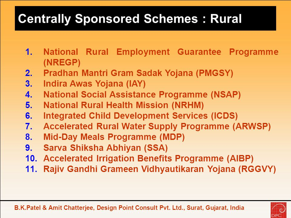 Centrally Sponsored Schemes : Rural