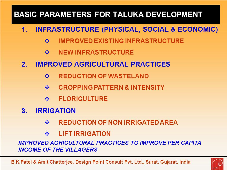 BASIC PARAMETERS FOR TALUKA DEVELOPMENT
