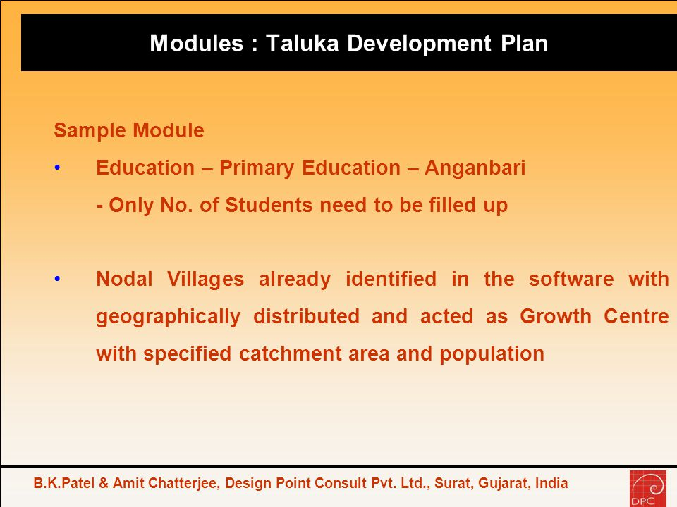 Modules : Taluka Development Plan