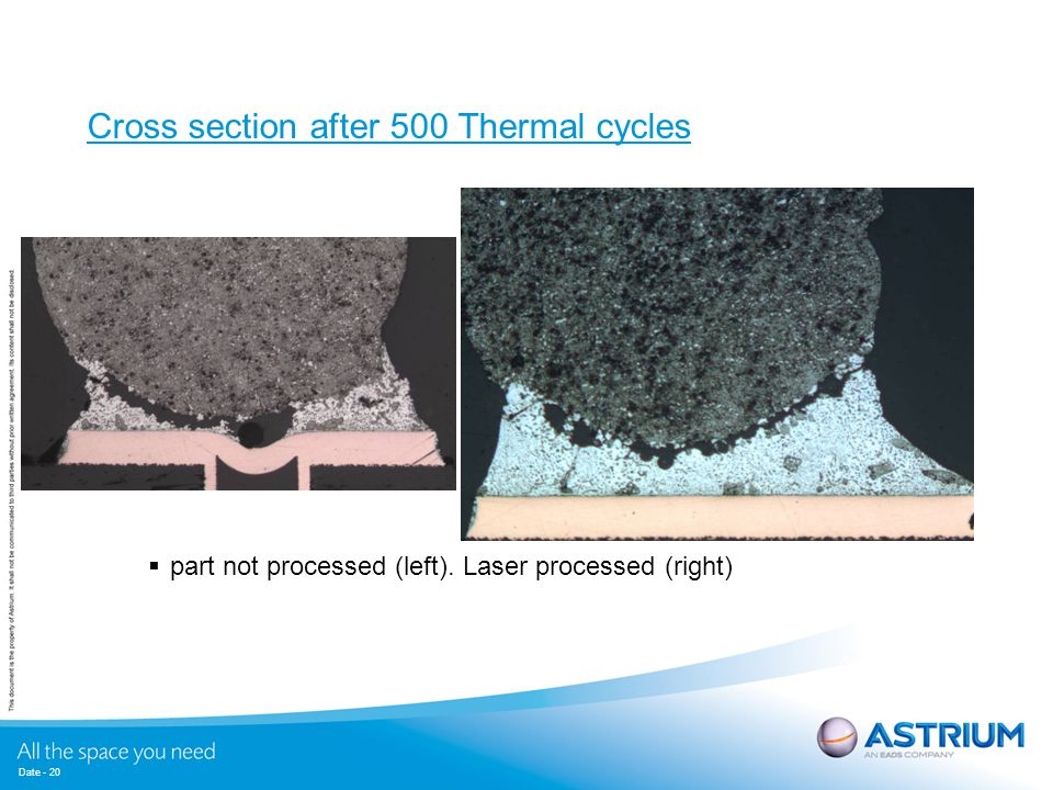 Cross section after 500 Thermal cycles