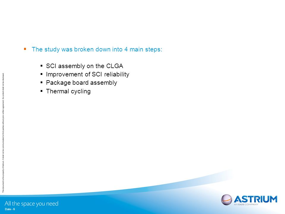 The study was broken down into 4 main steps: SCI assembly on the CLGA
