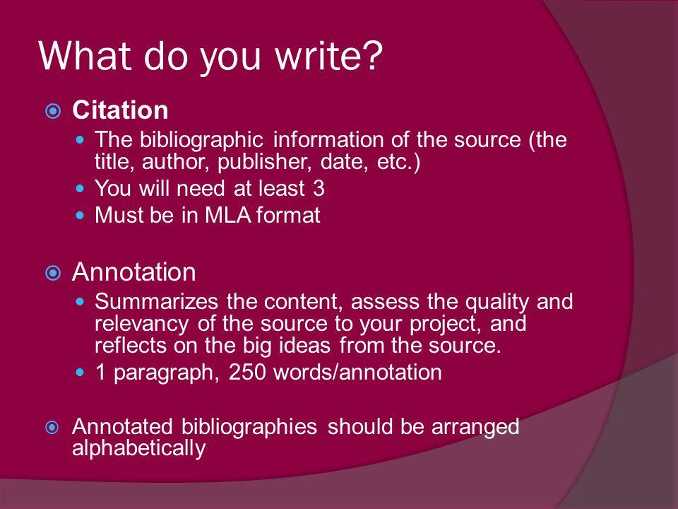 What do you write Citation Annotation
