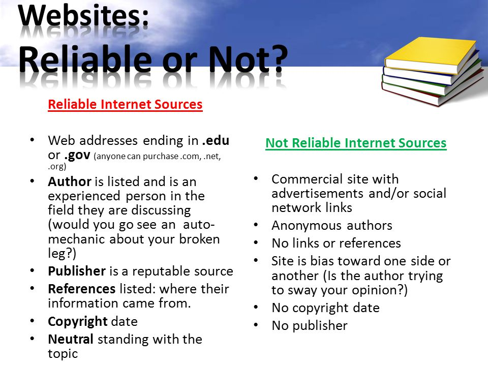 Websites: Reliable or Not