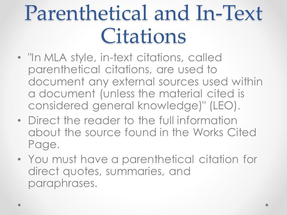 Parenthetical and In-Text Citations