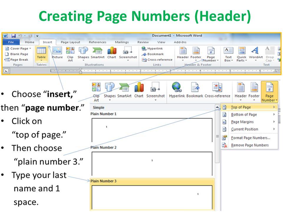 Creating Page Numbers (Header)