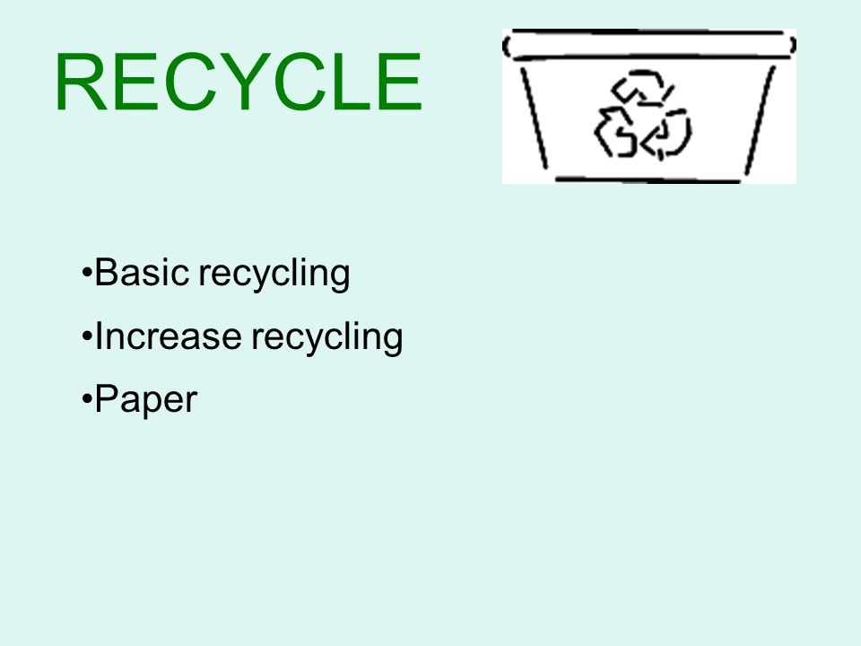 RECYCLE Basic recycling Increase recycling Paper Closing the Loop: