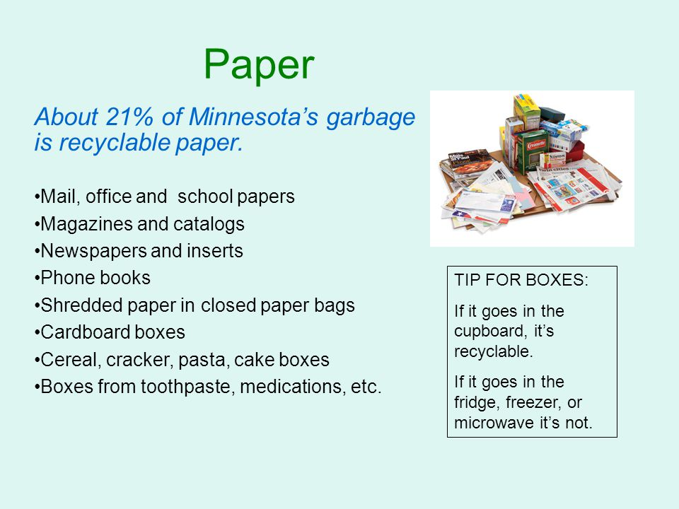 Paper About 21% of Minnesota's garbage is recyclable paper.