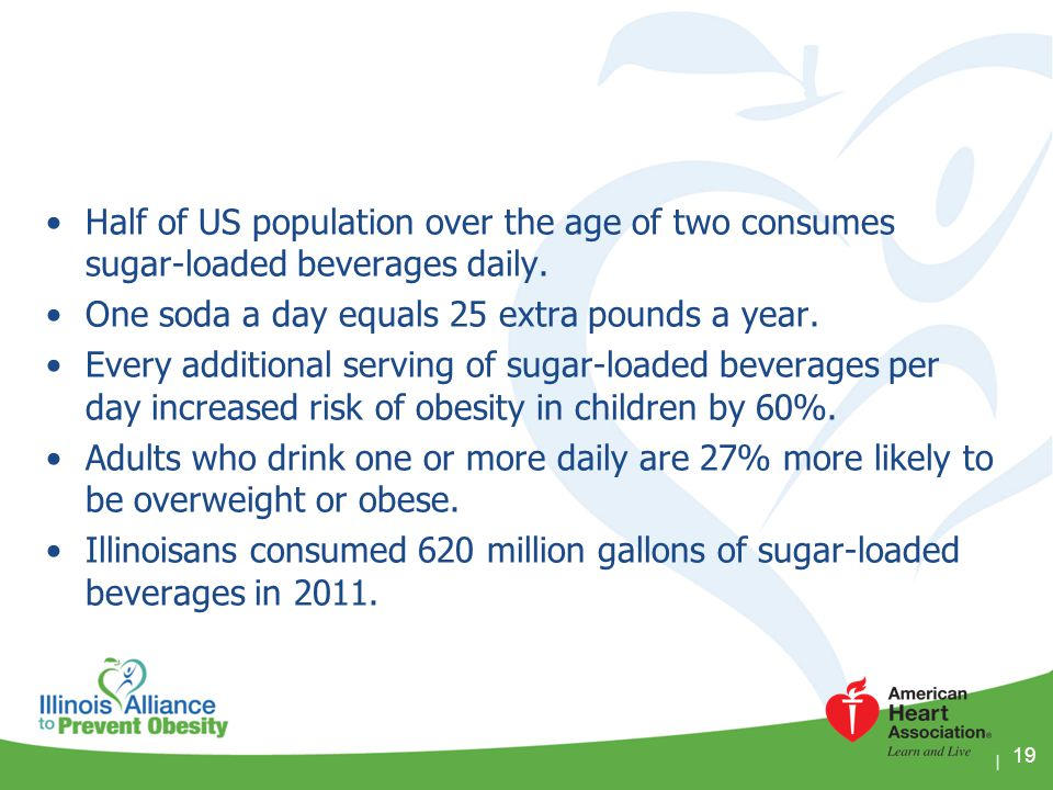 One soda a day equals 25 extra pounds a year.