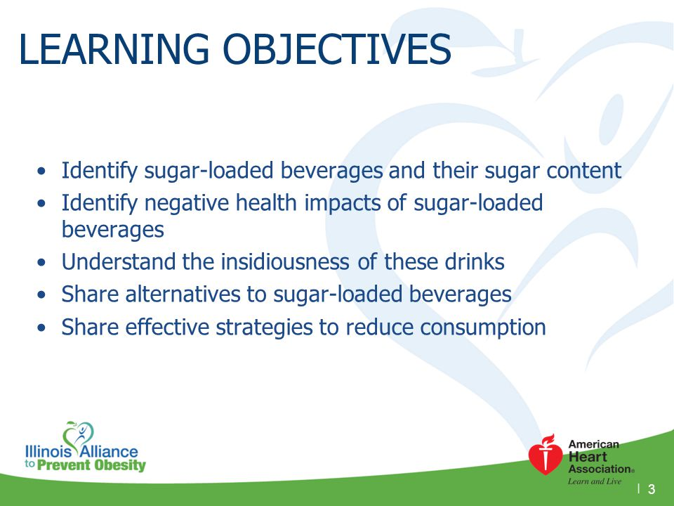 LEARNING OBJECTIVES Identify sugar-loaded beverages and their sugar content. Identify negative health impacts of sugar-loaded beverages.