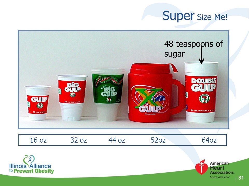 Super Size Me! 48 teaspoons of sugar 16 oz 32 oz 44 oz 52oz 64oz