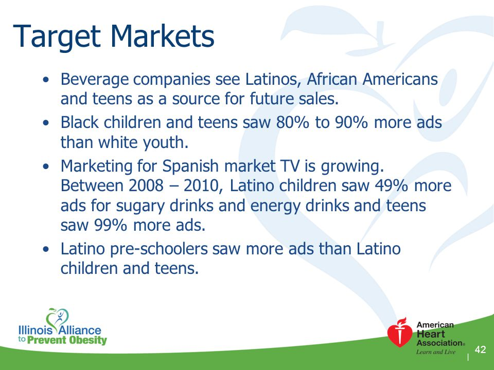 Target Markets Beverage companies see Latinos, African Americans and teens as a source for future sales.