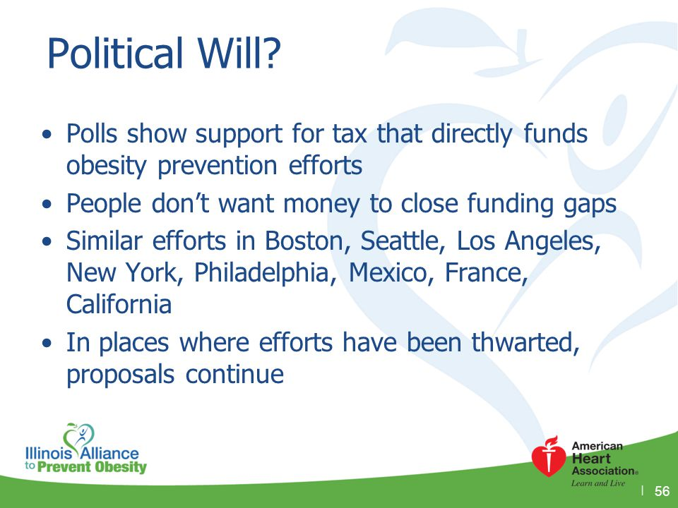 Political Will Polls show support for tax that directly funds obesity prevention efforts. People don't want money to close funding gaps.