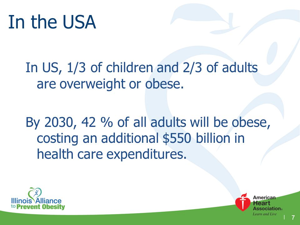 In the USA In US, 1/3 of children and 2/3 of adults are overweight or obese.