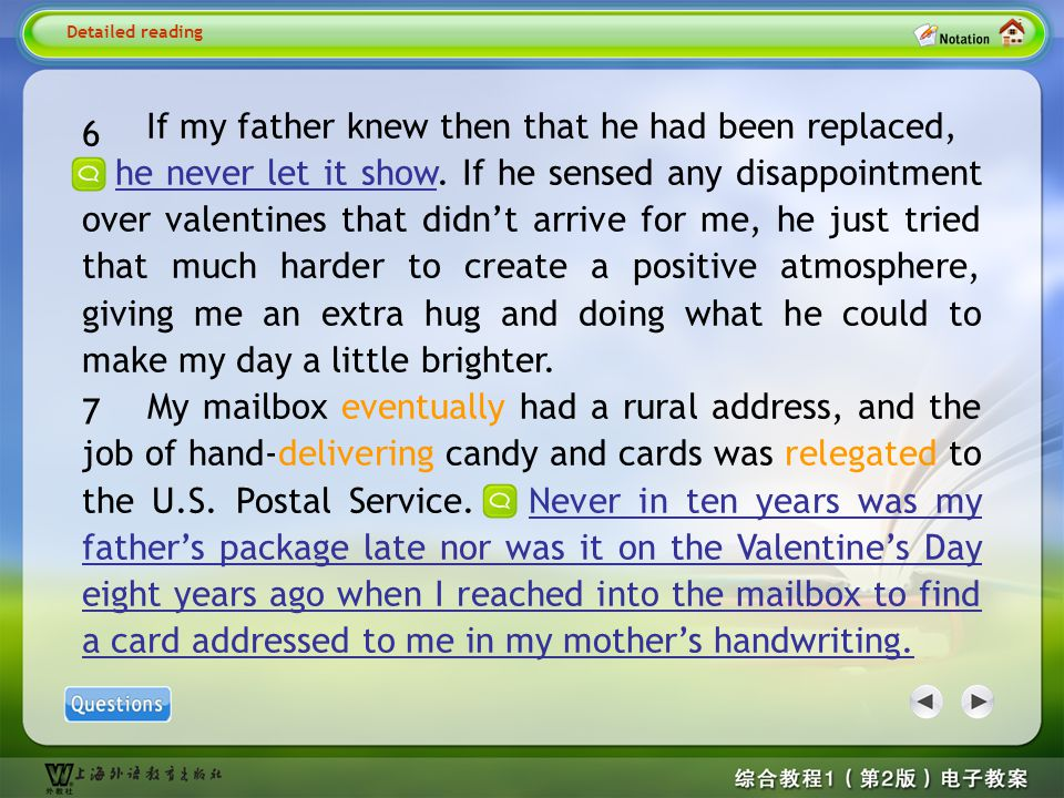 Detailed reading6-7 If my father knew then that he had been replaced,