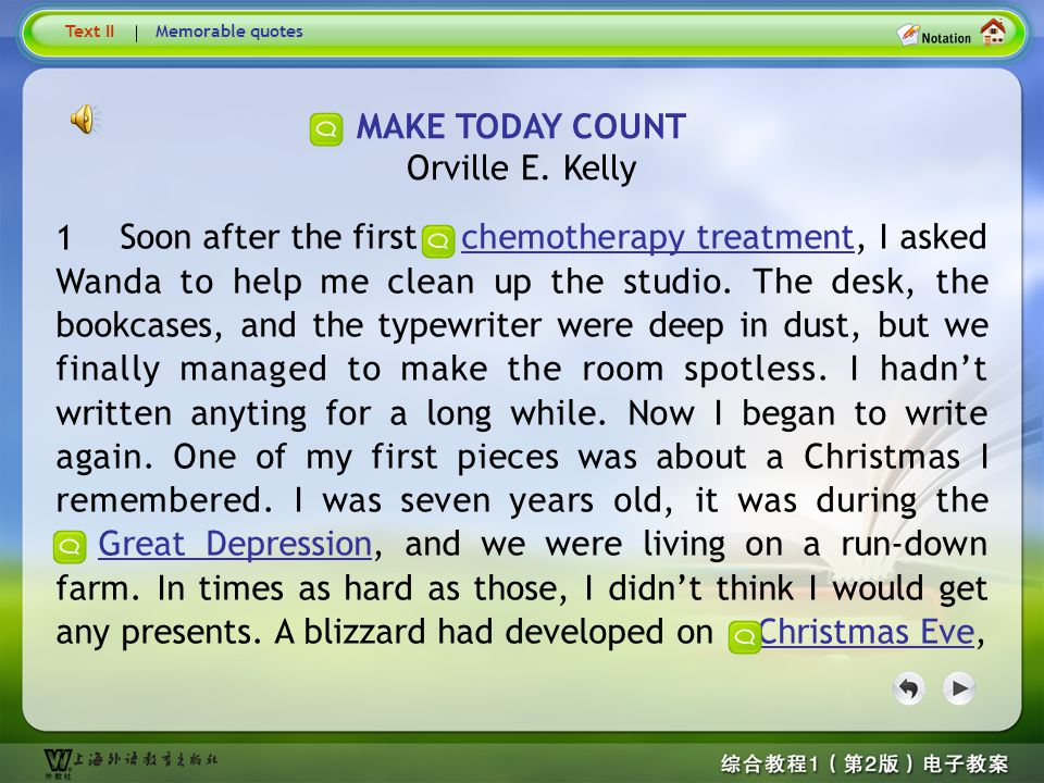 Text1 MAKE TODAY COUNT Orville E. Kelly 1