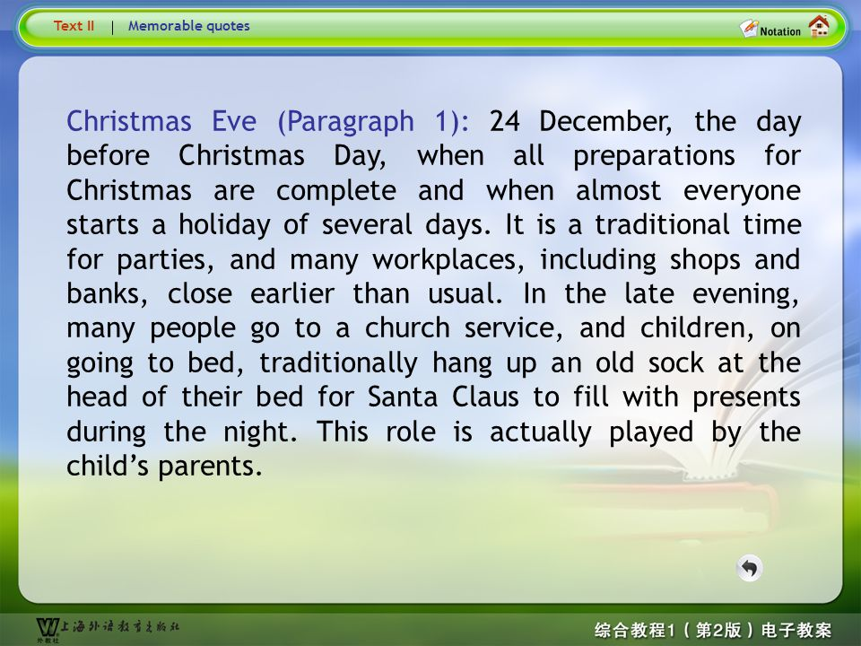 Text1 – Christmas Eve… Text II. Memorable quotes.