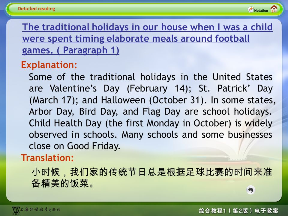 Detailed reading—S_ The traditional holidays…